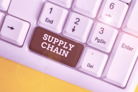 Text sign showing Supply Chain. Business photo showcasing network between a company and suppliers in producing a product White pc keyboard with empty note paper above white background key copy space Stock fotó