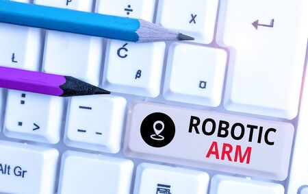 Text sign showing Robotic Arm. Business photo text programmable mechanical arm with similar function of a huanalysis arm 写真素材