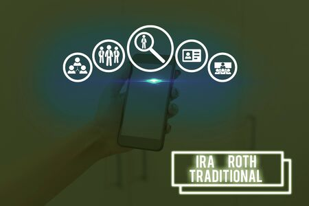 Text sign showing Ira Roth Traditional. Business photo showcasing are tax deductible on both state and federal