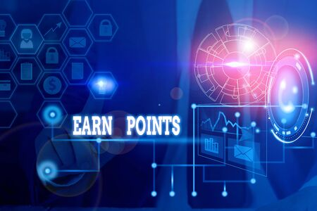 Conceptual hand writing showing Earn Points. Concept meaning getting praise or approval for something you have done Picture photo network scheme with modern smart device Фото со стока