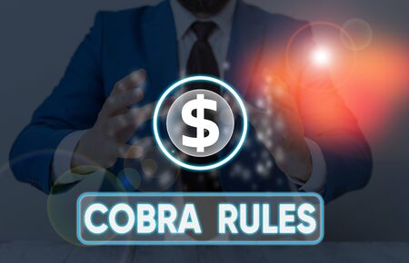 Word writing text Cobra Rules. Business photo showcasing continuing group health insurance coverage after a job loss