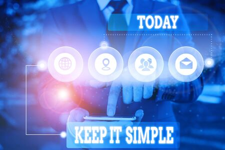 Text sign showing Keep It Simple. Business photo showcasing to make something easy to understand and not in fancy way Picture photo system network scheme modern technology smart device