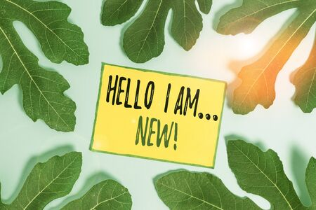 Handwriting text Hello I Am New. Conceptual photo introducing oneself in a group as fresh worker or student Leaves surrounding notepaper above an empty soft pastel table as background