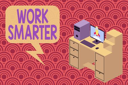 Writing note showing Work Smarter. Business concept for figuring out order to reach goals in the most efficient way Desktop station drawers personal computer launching rocket