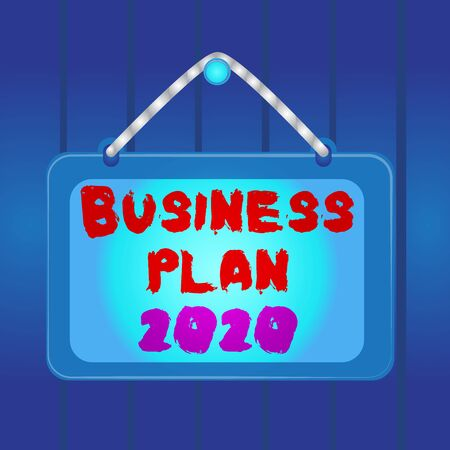 Writing note showing Business Plan 2020. Business concept for Challenging Business Ideas and Goals for New Year Board fixed nail frame colored background rectangle panel