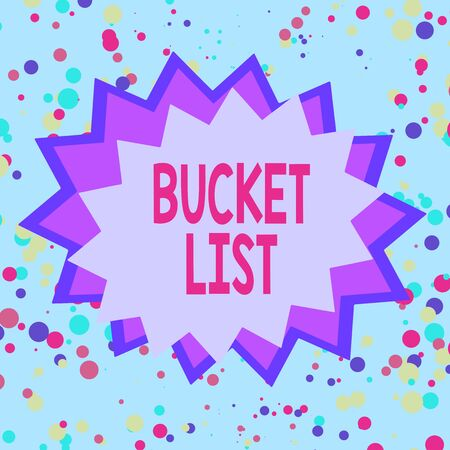 Text sign showing Bucket List. Business photo showcasing a list of the things that a demonstrating would like to do or achieve Asymmetrical uneven shaped format pattern object outline multicolour design