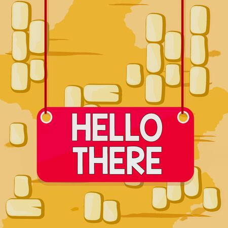 Word writing text Hello There. Business photo showcasing a way to get someone s is attention more strongly upon greeting Board color background plank attached string panel rectangle empty surface