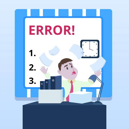 Word writing text Error. Business photo showcasing state or condition of being wrong in conduct judgement or program Confused Male Employee Manager Cluttered Workspace Overflow Time Shortage