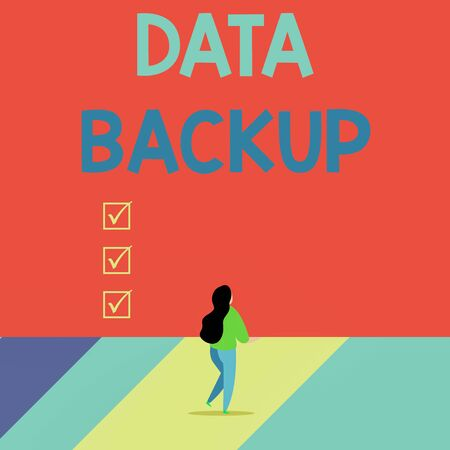 Word writing text Data Backup. Business photo showcasing copy of important data that is stored on an alternative location Back view young long hair woman holding big blank square announcement