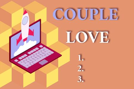 Word writing text Couple Love. Business photo showcasing two showing who love each other very much Feeling pleasure Rocket launching clouds laptop background. Startup project growing. SEO 版權商用圖片