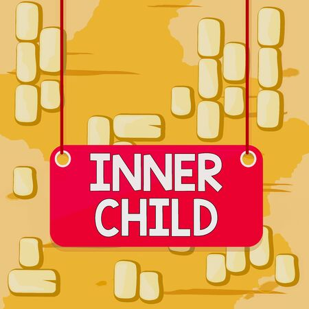 Word writing text Inner Child. Business photo showcasing the childlike usually hidden part of a demonstrating s is demonstratingality Board color background plank attached string panel rectangle empty surface Stockfoto