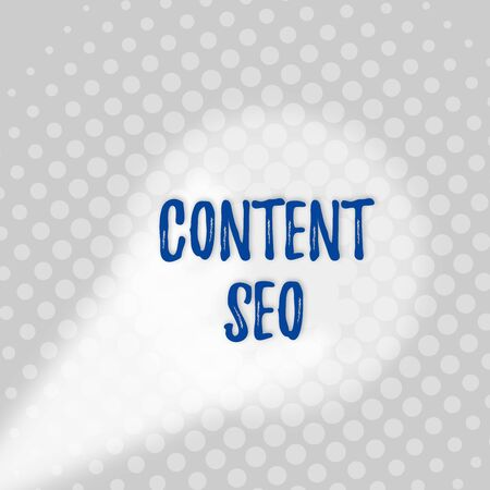 Text sign showing Content Seo. Business photo text creating webpage content to rank high in the search engines Grey Tiny Circles Getting Smaller it Fades Centered Round Blank Rectangular