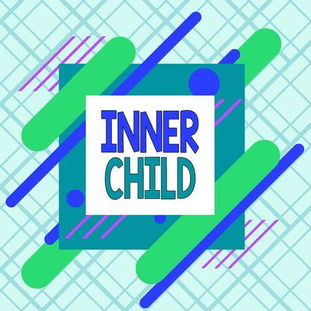Writing note showing Inner Child. Business concept for the childlike usually hidden part of a demonstrating s is demonstratingality Asymmetrical format pattern object outline multicolor design Stockfoto