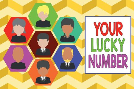 Writing note showing Your Lucky Number. Business concept for believing in letter Fortune Increase Chance Casino Picture frames CEO and staff Organization employee structure