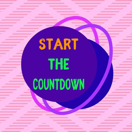 Handwriting text Start The Countdown. Conceptual photo Sequence of Backward Counting to Set the Timer Asymmetrical uneven shaped format pattern object outline multicolour design Stock Photo