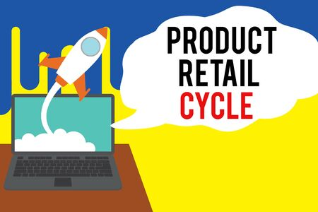 Word writing text Product Retail Cycle. Business photo showcasing as brand progresses through sequence of stages Successful rocket launching clouds out laptop background. Startup growing