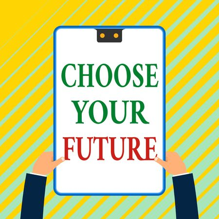 Writing note showing Choose Your Future. Business concept for Choices make today will define the outcome of tomorrow White rectangle clipboard with blue frame has two holes holds by hands