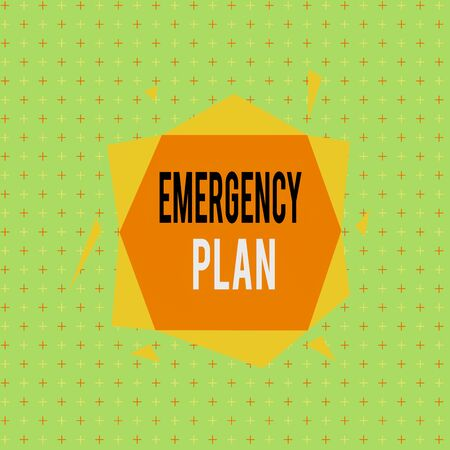 Text sign showing Emergency Plan. Business photo showcasing procedures for handling sudden or unexpected situations Asymmetrical uneven shaped format pattern object outline multicolour design