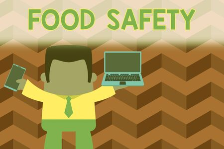 Word writing text Food Safety. Business photo showcasing conditions and practices that preserve the quality of food Standing professional man tie holding left open laptop right mobile phone