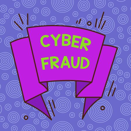 Handwriting text Cyber Fraud. Conceptual photo any crime that is committed with the use of a computer Asymmetrical uneven shaped format pattern object outline multicolour design 版權商用圖片
