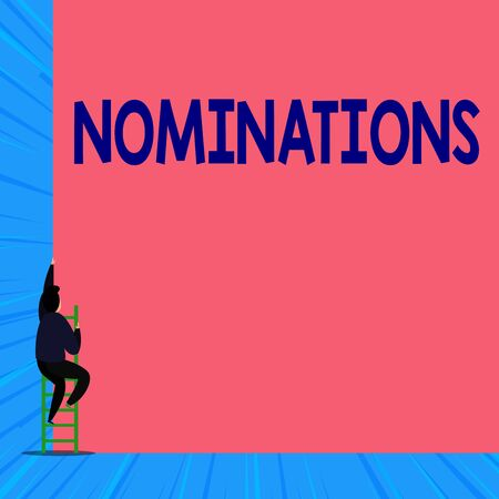 Text sign showing Nominations. Business photo showcasing the act of officially suggesting someone for a job or position Back view young man climbing up staircase ladder lying big blank rectangle
