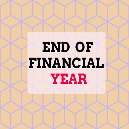 Text sign showing End Of Financial Year. Business photo showcasing Revise and edit accounting sheets from previous year Seamless Blue Blocks Cubes Yellow Background Depth Deepness Perspective Stock Photo