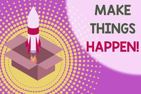 Text sign showing Make Things Happen. Business photo showcasing you will have to make hard efforts in order to achieve it Fire launching rocket carton box. Starting up project. Fuel inspiration Banque d'images