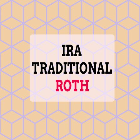 Text sign showing Ira Traditional Roth. Business photo showcasing are tax deductible on both state and federal Seamless Blue Blocks Cubes Yellow Background Depth Deepness Perspective