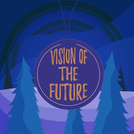 Word writing text Vision Of The Future. Business photo showcasing Seeing something Ahead a Clear Guide of Action Badge circle label string rounded empty tag colorful background small shape Stok Fotoğraf