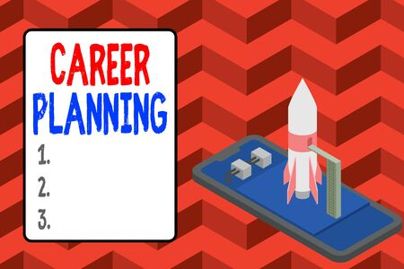 Word writing text Career Planning. Business photo showcasing Strategically plan your career goals and work success Ready to launch rocket lying smartphone. Startup negotiations to begin
