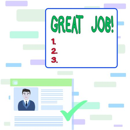 Writing note showing Great Job. Business concept for used praising someone for something they have done very well Curriculum Vitae Resume of Candidate Marked by Color Mark