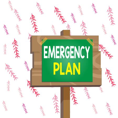 Handwriting text writing Emergency Plan. Conceptual photo procedures for handling sudden or unexpected situations Wood plank wooden stick pole paper note attached adhesive tape empty space