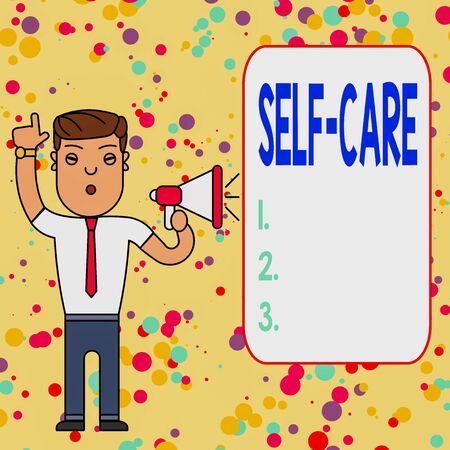 Text sign showing Self Care. Business photo showcasing practice of taking action to preserve or improve ones own health Man Standing with Raised Right Index Finger and Speaking into Megaphone