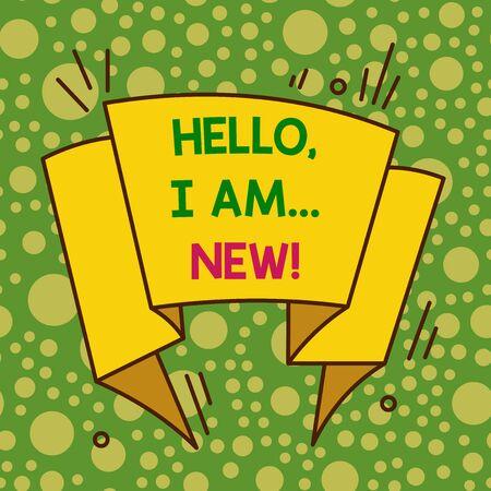 La scrittura della nota mostra Ciao sono nuovo. Concetto di business per presentarsi in un gruppo come lavoratore fresco o studente Design multicolore asimmetrico di forma irregolare oggetto design