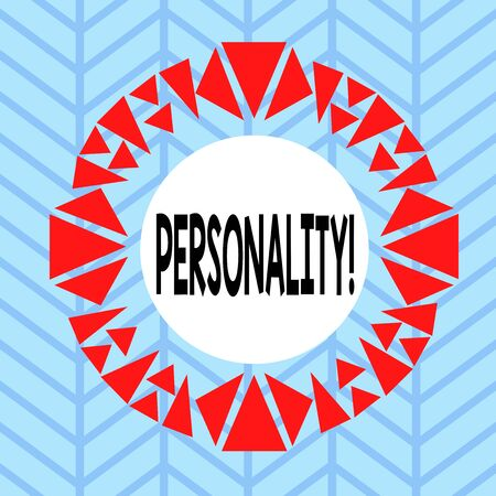 Text sign showing Personality. Business photo showcasing combination characteristics that form individuals character Asymmetrical uneven shaped format pattern object outline multicolour design Stok Fotoğraf - 137631702