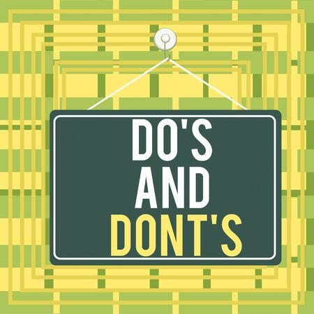 Text sign showing Do S And Don tS. Business photo showcasing Rules or customs concerning some activity or actions Colored memo reminder empty board blank space attach background rectangle