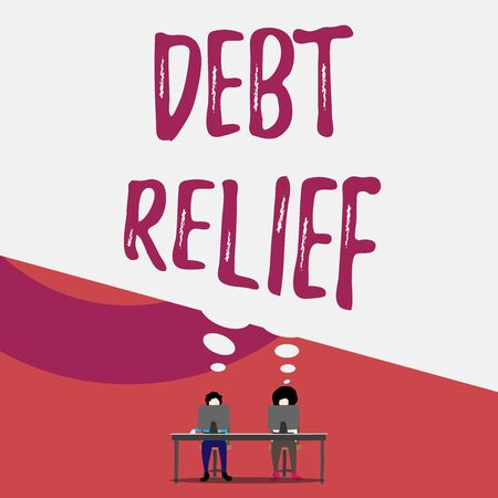 Handwriting text writing Debt Relief. Conceptual photo a reduction in the amount of debt that a country has to pay Two men sitting behind desk each one laptop sharing blank thought bubble