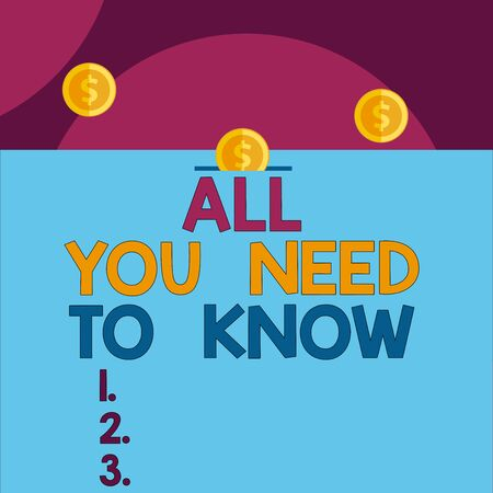 Handwriting text All You Need To Know. Conceptual photo Tell only the Facts and Important ones Access to Data Front view close up three penny coins icon one entering collecting box slot 版權商用圖片