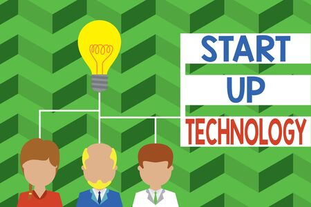 Word writing text Start Up Technology. Business photo showcasing Young Technical Company initially Funded or Financed Group three executive persons sharing idea icon. Startup team meeting