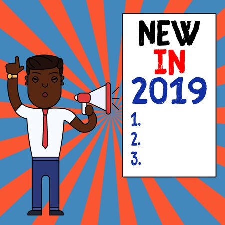 Text sign showing New In 2019. Business photo text what will be expecting or new creation for the year 2019 Man Standing with Raised Right Index Finger and Speaking into Megaphone 版權商用圖片