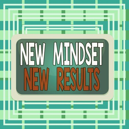 Text sign showing New Mindset New Results. Business photo text obstacles are opportunities to reach achievement Board rectangle white frame empty blank space fixed color surface plank