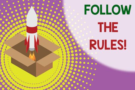 Text sign showing Follow The Rules. Business photo showcasing go with regulations governing conduct or procedure Fire launching rocket carton box. Starting up project. Fuel inspiration Stock fotó