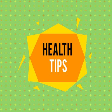 Text sign showing Health Tips. Business photo showcasing advice or information given to be helpful in being healthy Asymmetrical uneven shaped format pattern object outline multicolour design Stockfoto