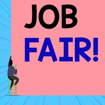 Text sign showing Job Fair. Business photo showcasing event where employers offer information about their companies Back view young man climbing up staircase ladder lying big blank rectangle