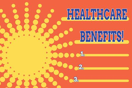 Handwriting text Healthcare Benefits. Conceptual photo monthly fair market valueprovided to Employee dependents Dotted tunnel simulating sun shining. Abstract futuristic. Comic Background