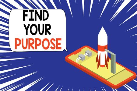 Text sign showing Find Your Purpose question. Business photo showcasing reason for something is done or for which exists Ready to launch rocket lying smartphone. Startup negotiations to begin 版權商用圖片