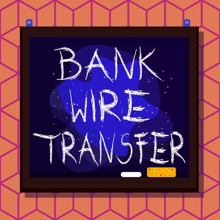 Conceptual hand writing showing Bank Wire Transfer. Concept meaning Electronic transfer of money through bank to bank Asymmetrical uneven shaped pattern object multicolour design Stock Photo