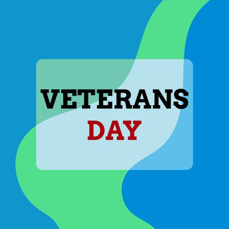 Text sign showing Veterans Day. Business photo showcasing a public holiday to honour US veterans and victims of all wars Square rectangle paper sheet loaded with full creation of pattern theme Archivio Fotografico