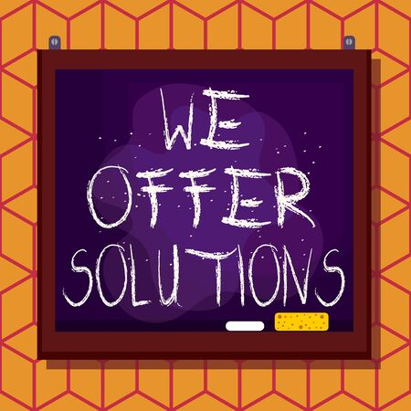 Conceptual hand writing showing We Offer Solutions. Concept meaning Offering help assistance Experts advice strategies ideas Asymmetrical uneven shaped pattern object multicolour design 写真素材