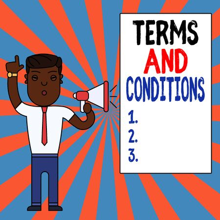 Text sign showing Terms And Conditions. Business photo text rules that apply to fulfilling a particular contract Man Standing with Raised Right Index Finger and Speaking into Megaphone